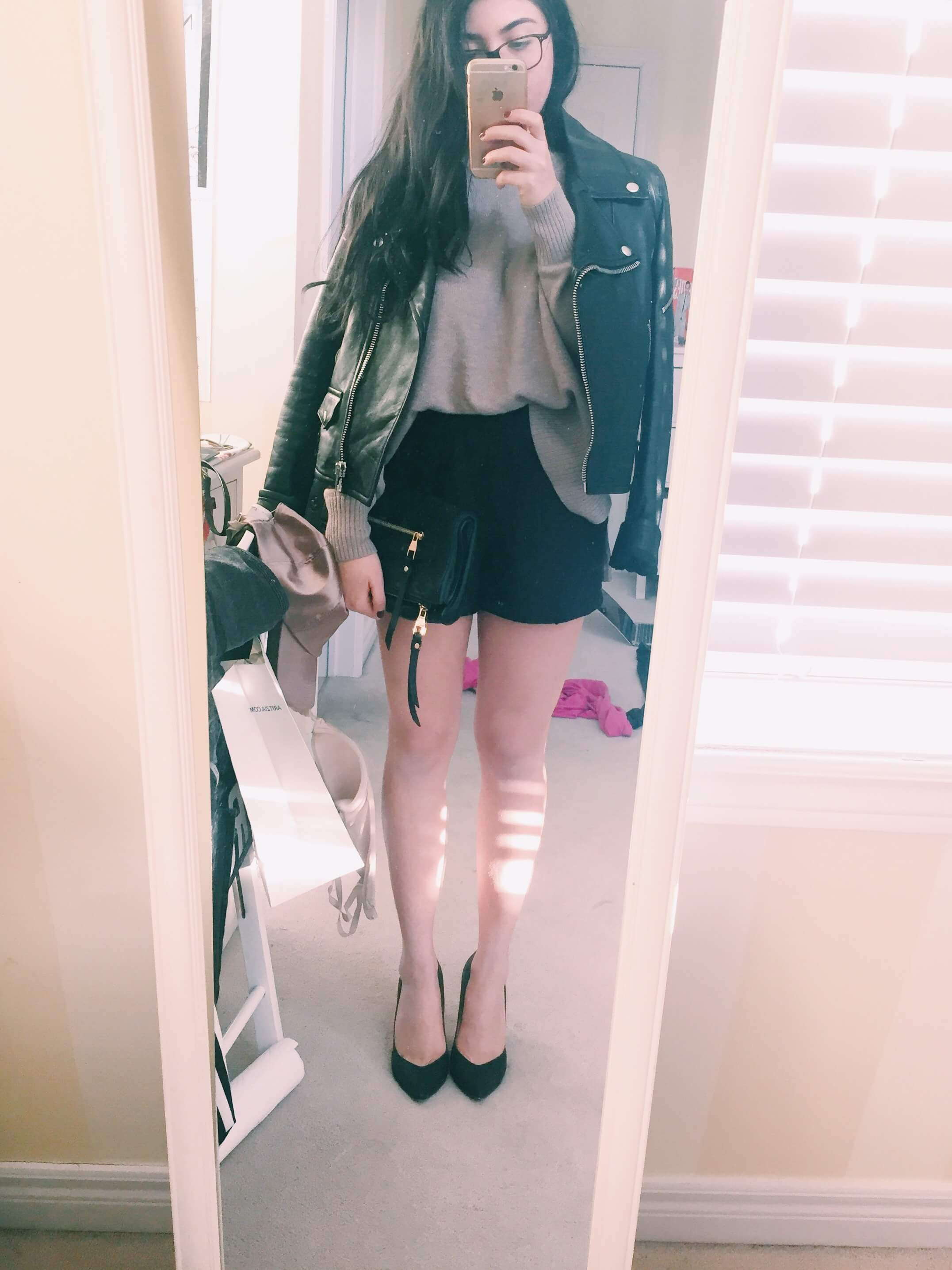 ootd leather jacket sweater shorts